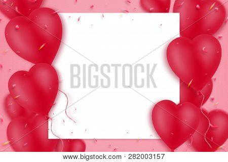 Red Inflatable Heart-shaped Balloons On A Pink Background. Empty White Sheet For Text. Copy Space. M