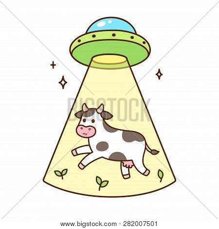 Aliens On Flying Saucer Abduct Cow. Funny Cartoon Ufo Drawing, Vector Illustration.