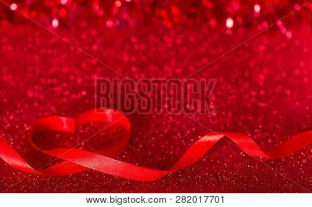 Valentine's Day. Bright Shiny Background With Ribbon