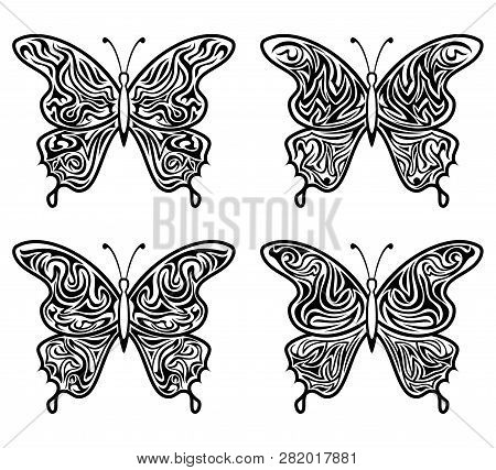 Black Contour Butterflies With Open Pattern Wings, Isolated On White. Vector