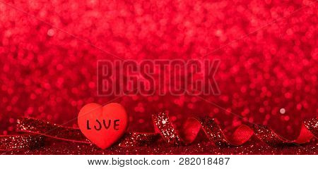 Bright Heart, Shining Red Ribbon On A Bright Red Background