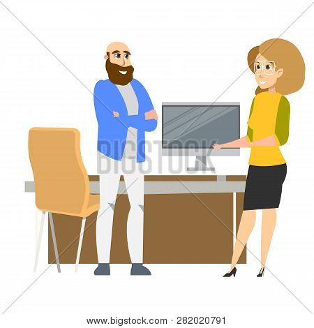 Freelance Business Character Standing At Workplace. Successful Female Office Clerk Wearing Glasses.