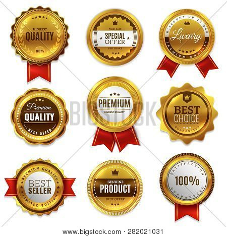 Gold Badges Seal Quality Labels. Sale Medal Badge Premium Stamp Golden Genuine Emblem Guarantee Roun