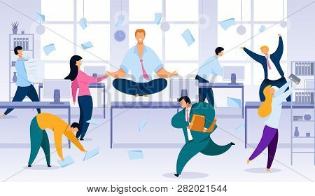 Keeping Calm And Balance In Office Work Chaos Flat Vector Concept. Smiling Office Worker, Company Em