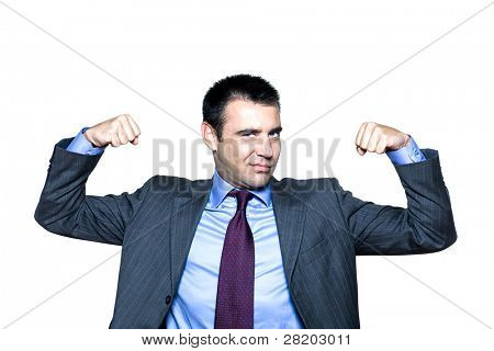 Portrait of an expressive man flexing muscles in studio on isolated white background