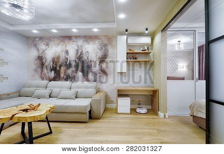 Moscow - Dec 6, 2018: Modern Home Interior With Fresco. Light Interior Design Of Living Room And Bed