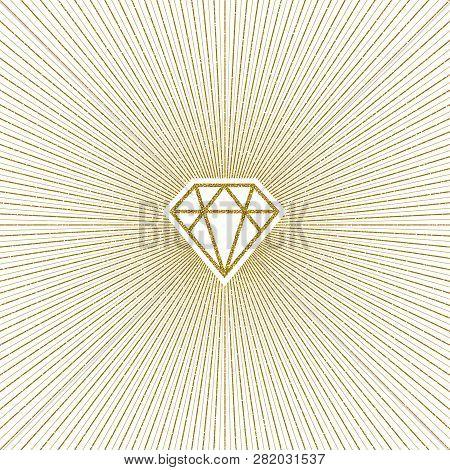 Glitter Gold Shining Diamond With Sunburst. Vector Illustration.