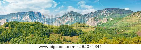 Gorgeous Panorama Of Countryside In Springtime. Beautiful Landscape Of Romania. Rural Area On The Ne