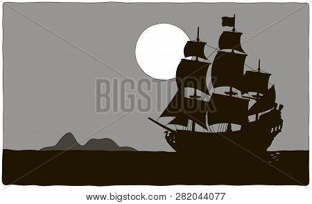 Old Sea Pirate Sailing Ship Drifting Near A Treasure Island In A Tropical Sea, Black And Grey Contou