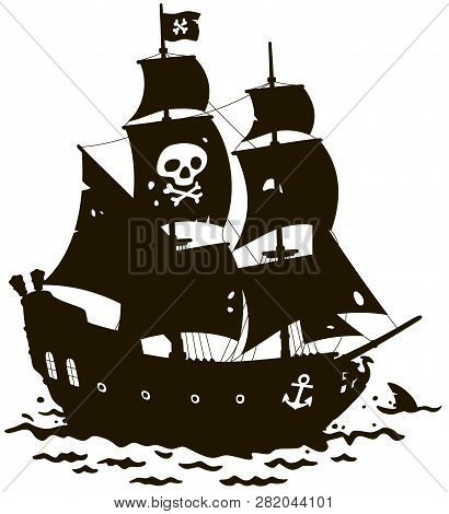 Old Sea Pirate Sailing Ship With Jolly Roger On Its Main Mast In A Tropical Sea, Black And White Con