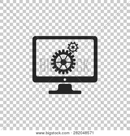 Monitor And Gears Icon Isolated On Transparent Background. Monitor Service Concept. Adjusting App, S