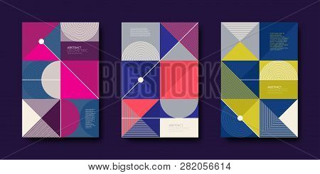 Set Of Cover Design With Simple Abstract Geometric Shapes. Vector Illustration Template. Universal A