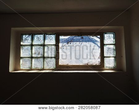 Glass Bricks Blocks With Bubble Pattern In Window Architecture Detail