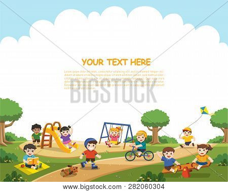 Happy Excited Kids Having Fun Together On Playground. Children Play Outside. Vector Illustration.tem