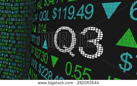 Q3 3rd Quarter Period Stock Market Ticker Words 3d Illustration