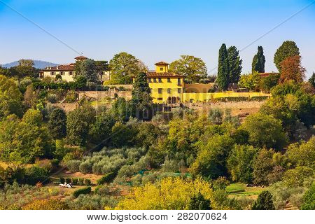 Aerial View Of Historical Medieval Town Of Florence, Italy And Boboli Gardens