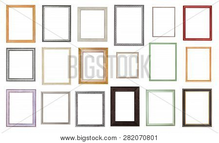 Set From Various Empty Wooden Picture Frames With Cut Out Canvas Isolated On White Background