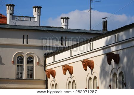 Horse Head Sculpture On Wall Of Stable, Lany, Czech Republic