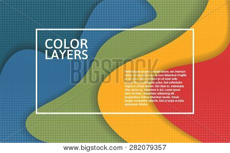Papercut Color Layers. Colorful Multi Layer Template With White Frame. Creative Banner For Poster, F