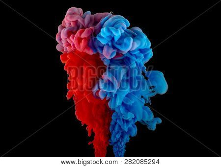 Swirling Colorful Drops Cloud. Color Splashes Of Ink Isolated On Black Background. Abstract Paint In