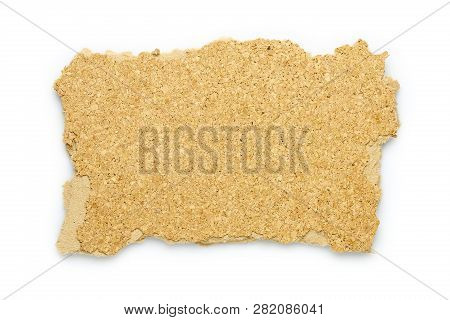 Piece Of Broken Corkboard For Backgrounds Isolated On White