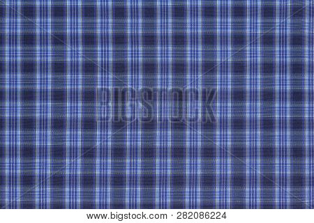 Blue Checkered Fabric Closeup For Background Use