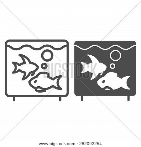 Aquarium Line And Glyph Icon. Fish In Aquarium Vector Illustration Isolated On White. Fishbowl Outli