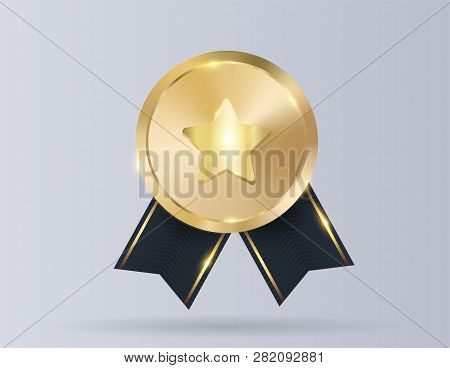 Gold Medal With Red Ribbon, Star For First Place. Trophy, Winner Award Isolated On Background. Golde