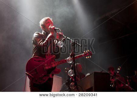 CLARK, NJ - SEPTEMBER 12: Lead singer Britt Daniel of the band Spoon performs at the Union County Music Fest on September 12, 2010 in Clark, NJ.