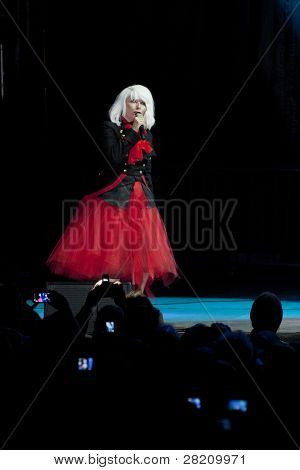 CLARK, NJ - SEPT 17: Singer Deborah Harry of the band Blondie performs at the Union County Music Fest on September 17, 2011 in Clark, NJ. The band will tour to support the release of Panic of Girls.