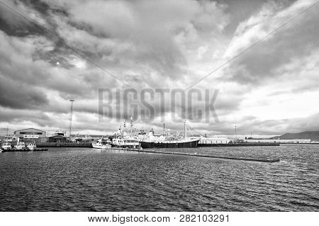 Reykjavik, Iceland - October 13, 2017: Ship In Sea Port. Boat Travel. Ship A Sea. Ship Acoustic Navi