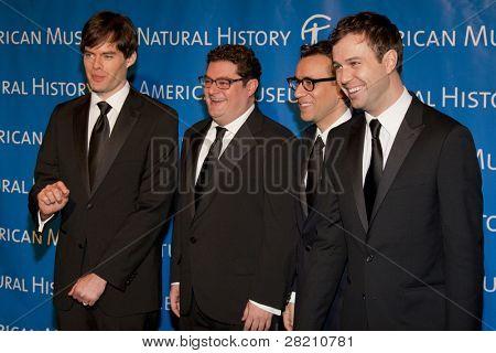 NEW YORK - NOV 10: SNL cast members Bill Hader, Bobby Moynihan, Fred Armisen, and Taran Killam attend the American Museum of Natural History's  2011 Gala on November 10, 2011 in New York City, NY.