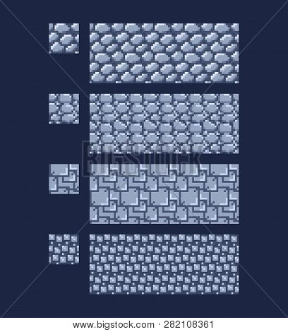Vector Illustration - Set Of 8 Bit 16x16 Stone Wall Brick Texture. Pixel Art Style Game Background S