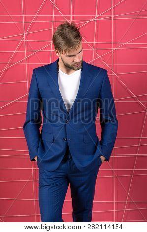 Man Well Groomed Manager Wear Elegant Formal Suit Pink Background. Manager Dress Code. Manager Confi