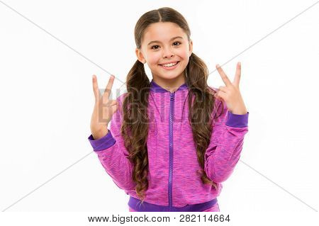 Kid Cheerful Baby. Girl Cute Child Long Curly Hair Happy Smiling. Child Psychology And Development.