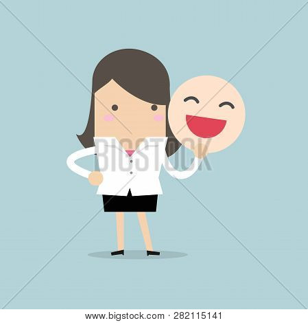Businesswoman Holding A Smile Mask Cartoon Character.