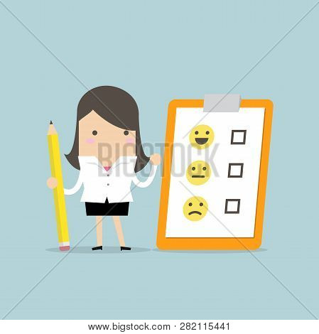 Businesswoman Holding Pencil And Paper Of Checklist Feedback On Clipboard. Customer Evaluation. Feed