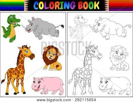 Coloring Book With A Wild Animals Cartoon