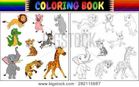 Coloring Book With A Wild Animals Collection