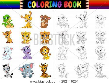 Coloring Book With A Cartoon Wild Animals Collection