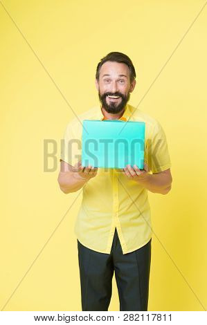 Man Emotional Enjoying Shopping. Bearded Mature Man With Shopping Bag On Yellow Background. Sale And