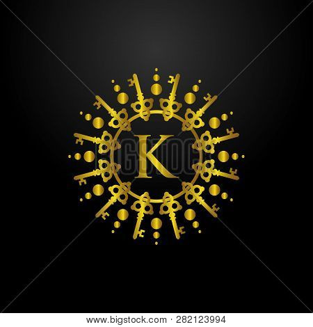 Luxury Key Chain With Letter K Logo, Classic And Elegant Logo Designs For Industry And Business, Int