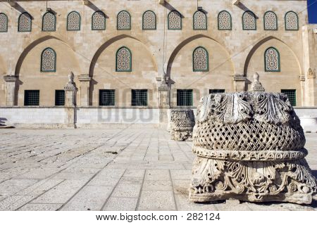 al aqsa mosque with roman ruins in the old city of jerusalem, israel poster