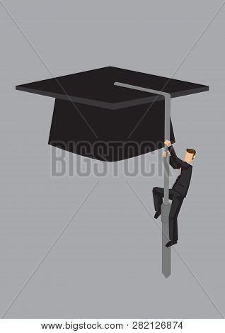 Businessman Climbing Up The Tassel On A Graduation Mortarboard. Creative Vector Cartoon Illustration
