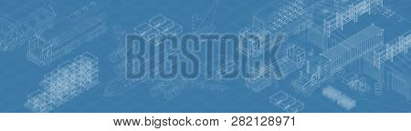 Vector Blueprint Of Storage And Various Types Of Delivery System On Blue Background