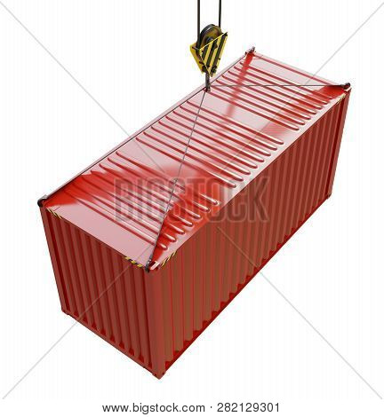 Service Delivery - Red Cargo Container Hoisted By Hook. 3d Rendering