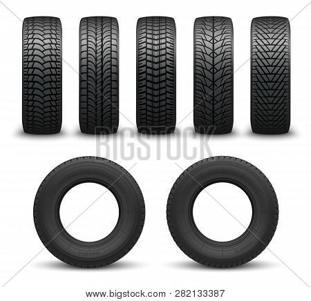 Car Tires Or Auto Tyres 3d Vector Illustration. Automobile Wheels With Different Tread Patterns From