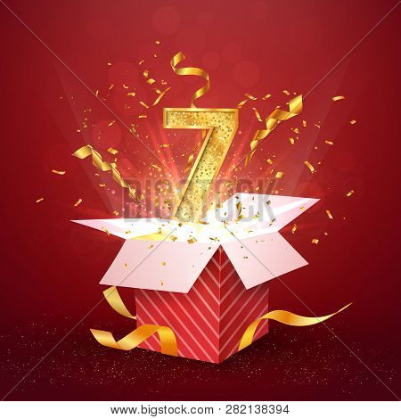 7 Th Year Number Anniversary And Open Gift Box With Explosions Confetti Isolated Design Element. Tem