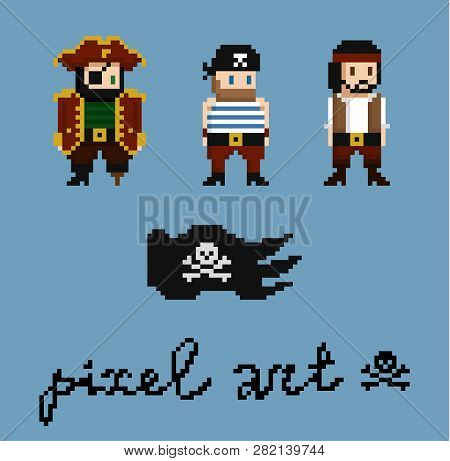 Pixel Art Characters Set. Pirate Crew Members - Captain, Cabinboy. Black Pirate Flag With Skull And