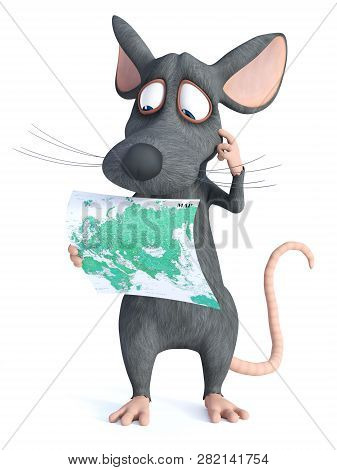 3d Rendering Of A Cute Cartoon Mouse Holding A Map And Looking Like He Is Thinking About Something.